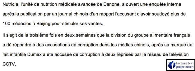 Des médecins soudoyés par Danone?